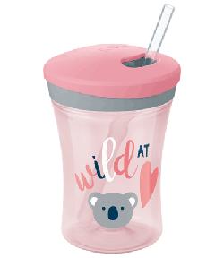 NUK 230ml 吸管杯 粉色